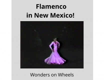 a flamenco dancer wearing a purple long-sleeved dress turns clockwise, holding her arms out to the side.