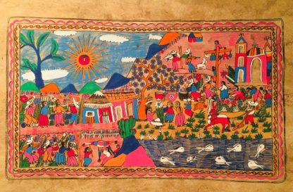 Bright colorful painting with many people in a village with buildings, water with fish, bright sun, field with plants, hills, and large tree surrounding.