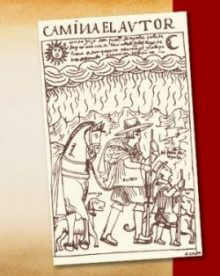 Camina Elavtor. Drawing of people with horse and other animals.