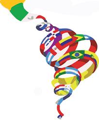 Spiraling ribbon of flags.