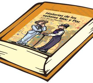 Book Historias de los senores Moc y Poc. Two cartoon men on cover.
