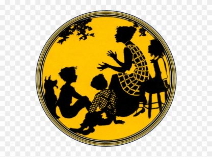 Art silhouette of woman talking and gesturing with three kids sitting around listening and a dog.