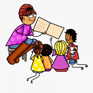 Cartoon of woman smiling holding book up for four small children on floor.