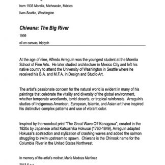 Label with lots of text explaining the painting Chiwana: The Big River by Alfredo Arreguin.