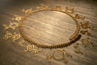 Large circle of golden objects that appear to be from plants on wood floor. Surrounded by small ornate circles made of many tiny objects forming them.
