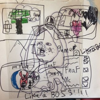 Transparent child's drawing of person surrounded by boxes with drawings and text. Like a Boss!!! at bottom.