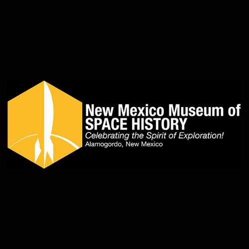 New Mexico Museum of Space History logo. Celebrating the Spirit of Exploration! Alamogordo, New Mexico.