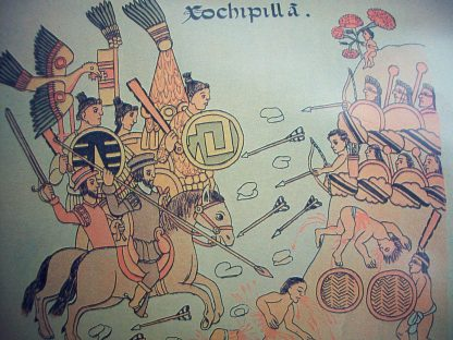 Old artwork of two groups of people battling. One side with bows & arrows, a couple people bleeding. The other side with swords, spears and shields, and some on horseback. Large bird above them.