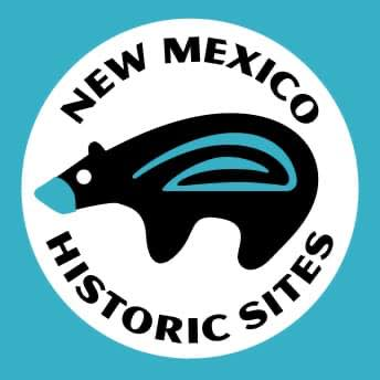 New Mexico Historic Sites logo with bear icon.