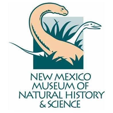 New Mexico Museum of Natural History & Science logo. Two dinosaurs with long necks in tall grass.
