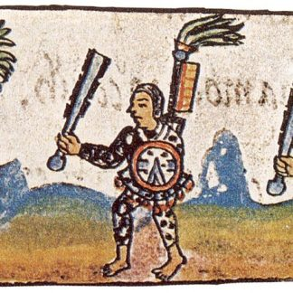 Old artwork. Three people holding club-like objects, shields, and large staffs wtih feathery tops. Colorful.