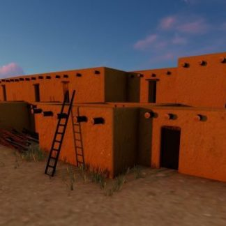 Adobe buildings with a few doors and ladders.