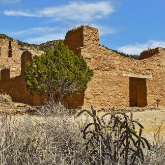 Old multi-story stone building that looks mission-style. Large doorway. Juniper trees, cacit, and cliffside around it.