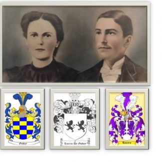 Old photo of a woman and man dressed in formal clothes. 3 family crest images below.