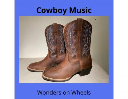 a pair of worn brown leather cowboy boots sit next to one another in front of a white background.