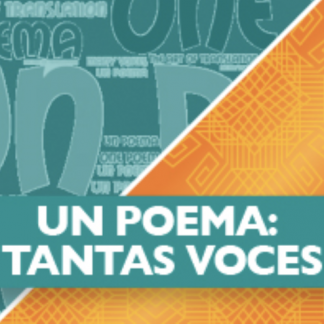 Text reads Un poema: tantas voces. Background half green with letters on it, and half orange, split diagonally.